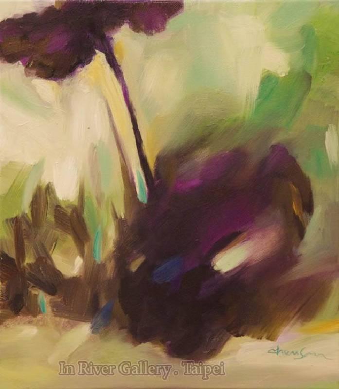 塵三-葉齊放荷,油畫,53x45.5cm,2014