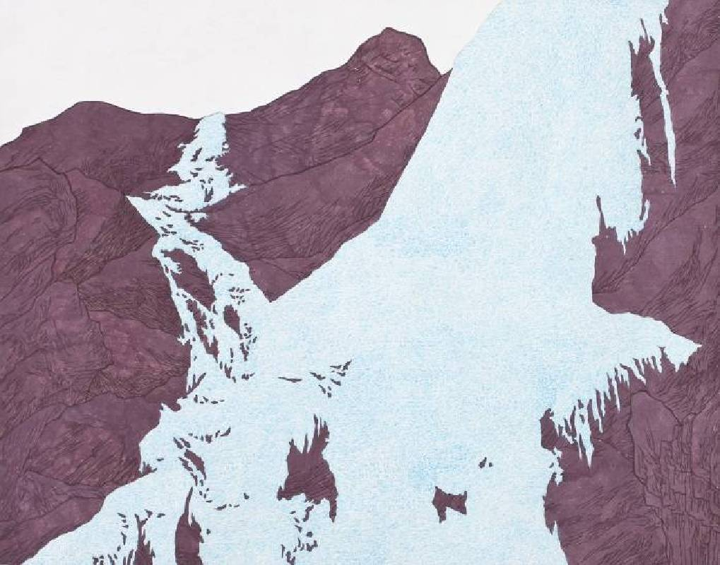 YOU Gap kyu 柳甲奎-climbing a frozen waterfall  Ink on Jangji-72.8x60cm-2013-EKartgallery