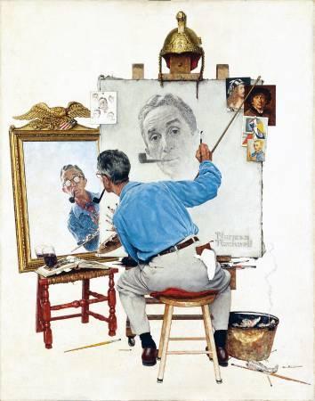 洛克威爾《自畫像》(Self Portrait),1960。圖/取自Wikiart。