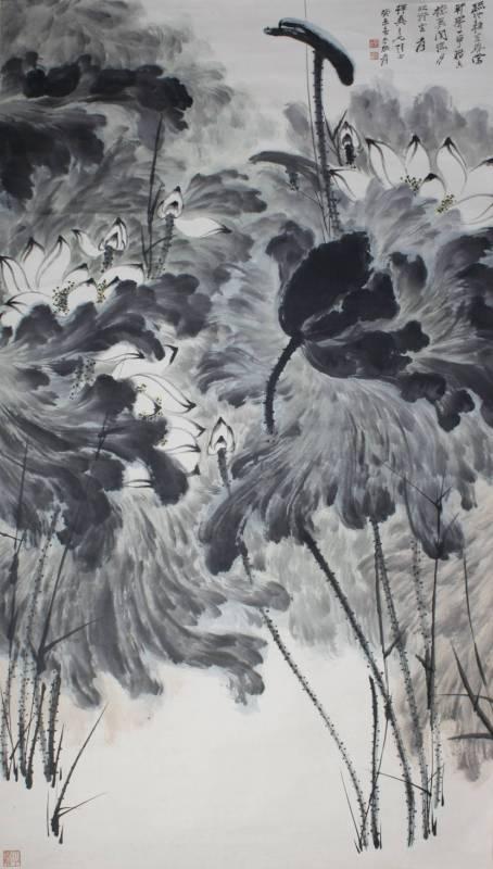 張大千 - 荷花圖 (1943年作品) 177x94.5cm (預估價 NT4,000,000~6,000,000)