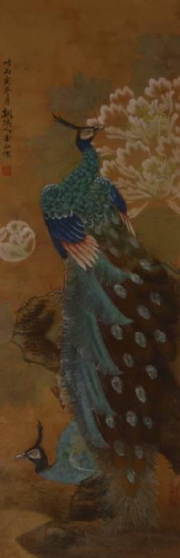 林玉山 - 孔雀圖 (1926年膠彩作品) 113x38cm (預估價 NT300,000~500,000)