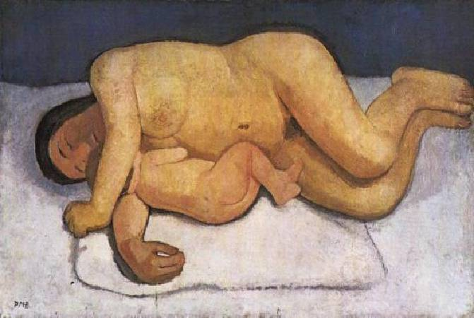 Paula Modersohn-Becker,《Reclining Mother and Child》。圖/取自維基百科。