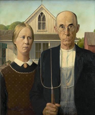 伍德《美國哥德式》(American Gothic),1930。圖/取自維基百科。