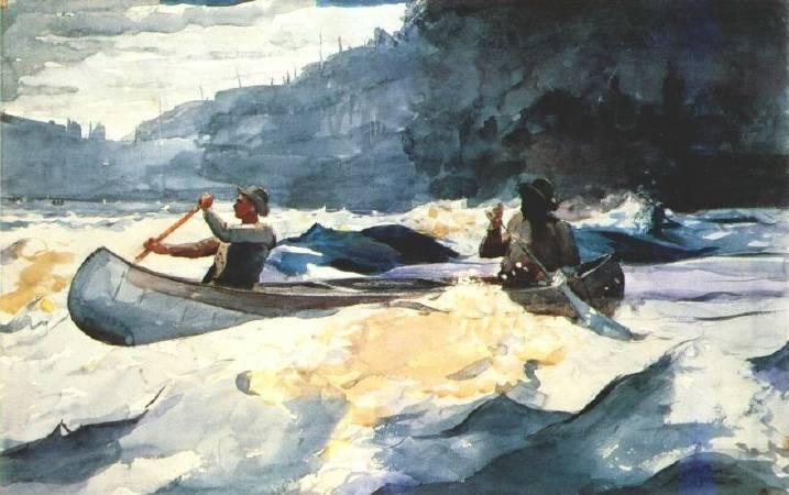 荷馬《划過急流》(Shooting the Rapids),1902。圖/取自wikiart。