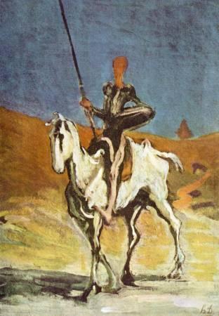 Honoré Daumier,《Don Quixote and Sancho Pansa》。圖/取自wikiart。