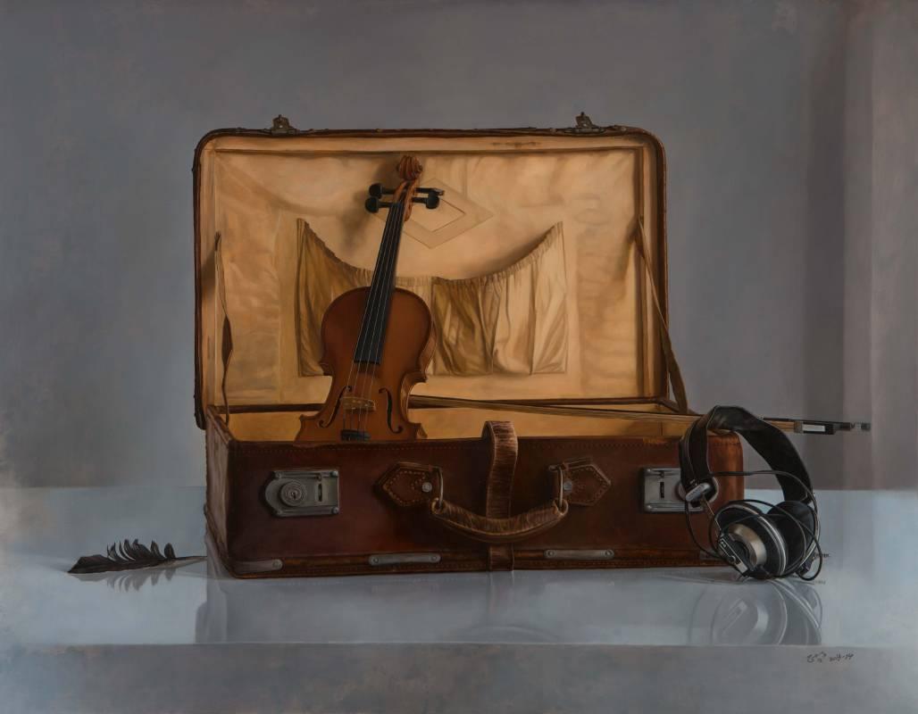 林正哲-皮箱-Leather suitcase-麻布油彩 91x116.5cm/50F-2013-14