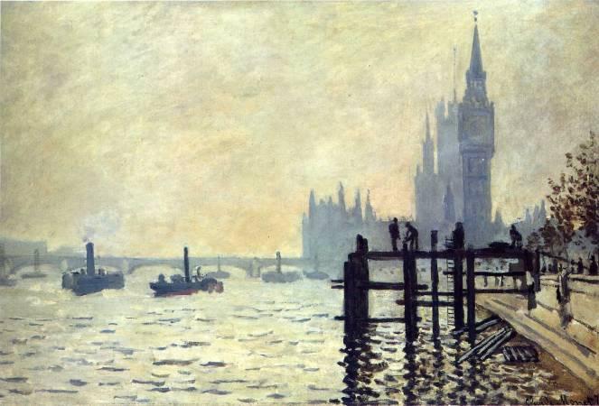 莫內《泰晤士河與國會大廈》。圖/取自Wiki Art。