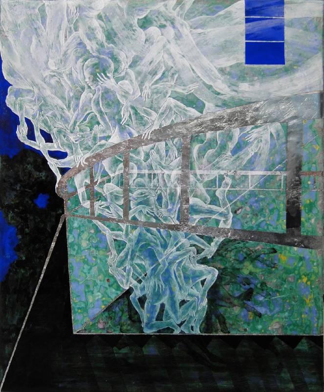 裊人1, 膠彩,壓克力,麻布, 50x42cm, 2015