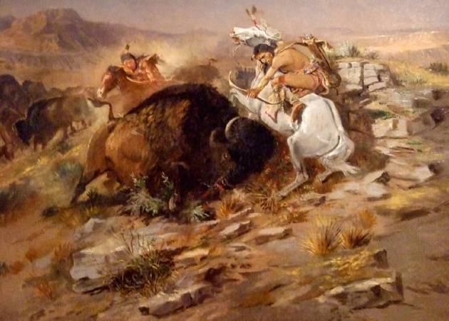 Charles Marion Russell,《Buffalo Hunt》。圖片/取自Wikipedia。