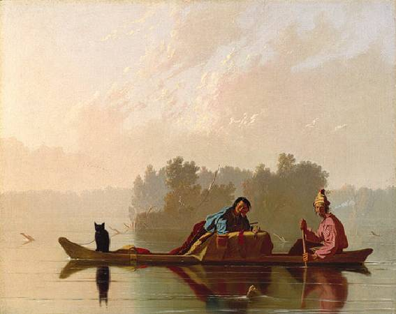 George Caleb Bingham,《Fur Traders Descending the Missouri》,1845。圖/取自維基百科。