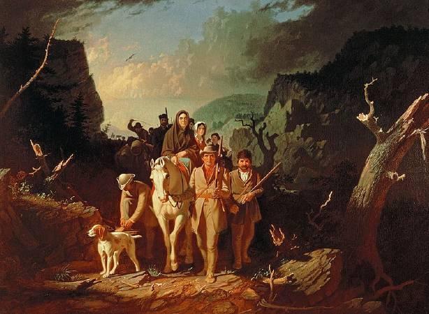 George Caleb Bingham,《Daniel Boone escorting settlers through the Cumberland Gap》,1852。圖/取自維基百科。
