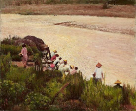 李梅樹,《河岸清晨》,1972。
