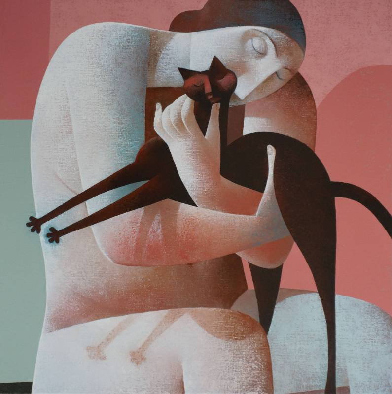 Peter H. Harskamp《Sitting Woman with Cat》Oil on Canvas_100×100cm_2014
