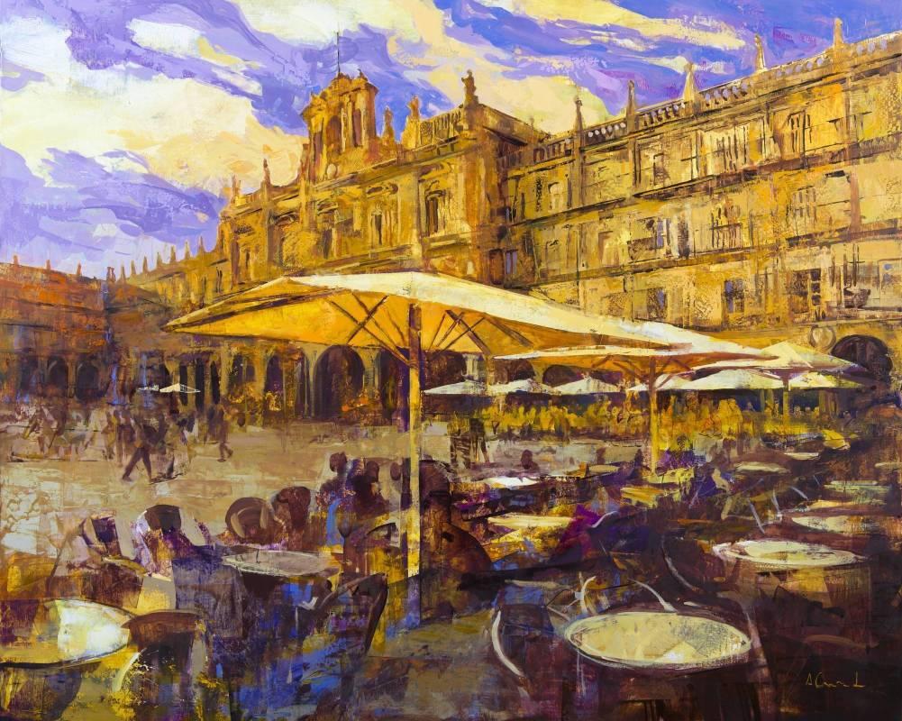 Alfonso Cunado《Parasols in the main square of Salamanca》Oil on Panel_100×81cm_2014