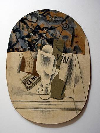 畢卡索《靜物與玻璃杯》。