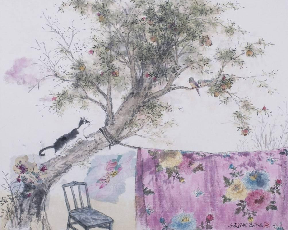 陸詠,石榴樹上,水墨顏彩,47.5x60cm