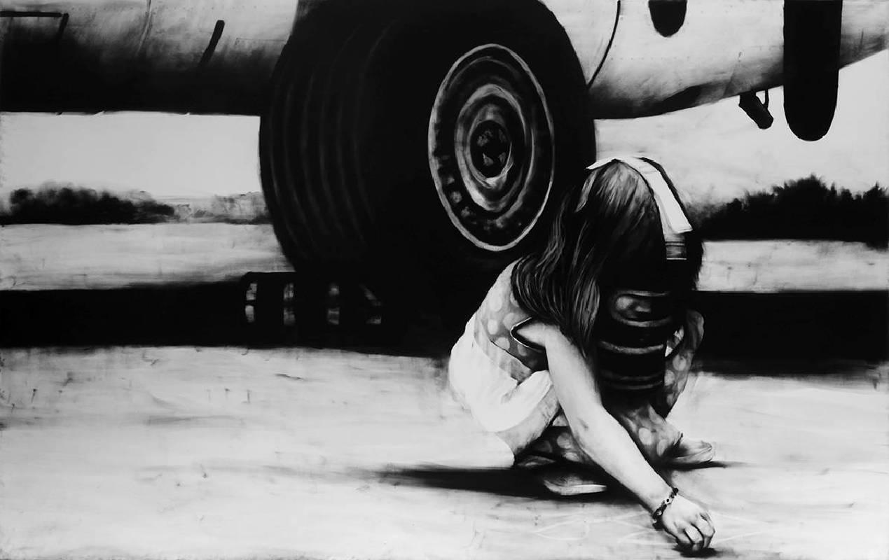 普拉姆海德拉,Drawing a Dream,190x300 cm,2014,炭筆畫布