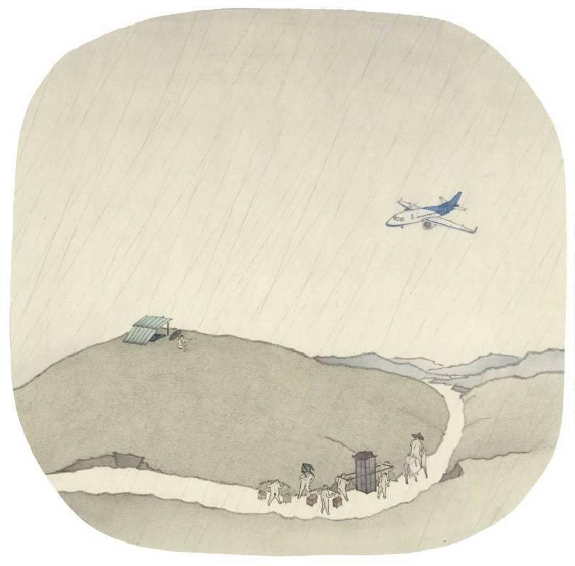 簡翊洪,《迫降的116航班》,水墨設色,30×30cm,2015