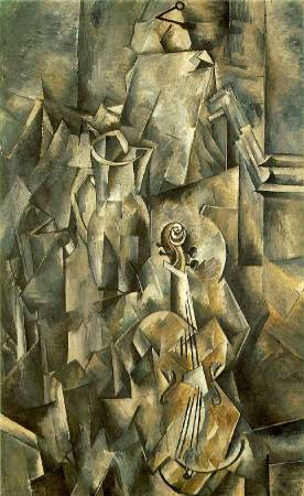 Georges Braque,《Violin and Pitcher》,1910。