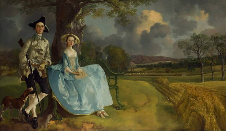 Thomas Gainsborough,《Mr. and Mrs. Andrews》,1750。圖/取自Wikipedia。