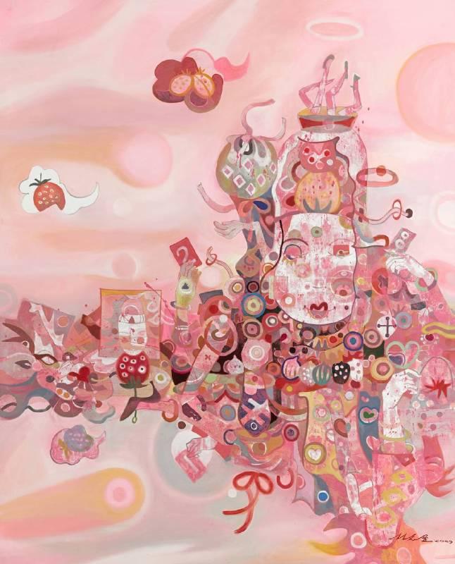 林志金,遊戲觀音,2010,油畫,162 x 120 cm
