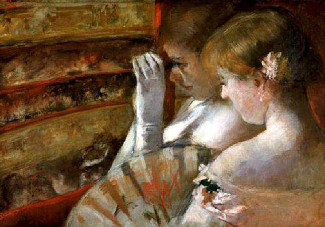Mary Cassatt,《In the Box, c》,1879。圖/取自Wikiart。