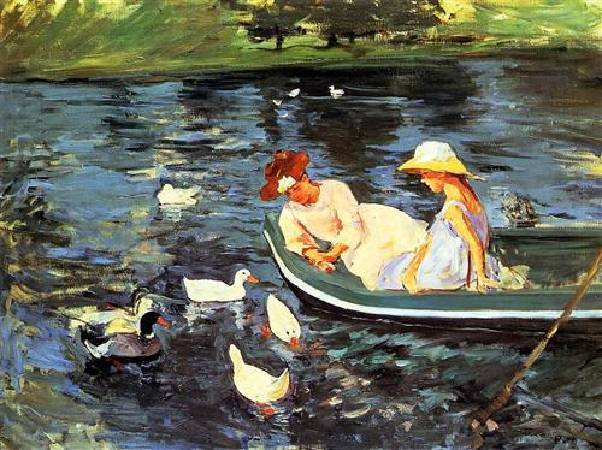 Mary Cassatt,《Summer Time》,1894。圖/取自Wikiart。