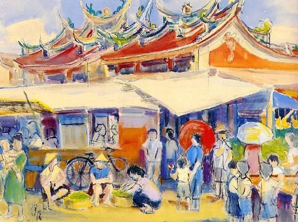 李澤藩,《外媽祖公廟前》,1938。李澤藩美術館收藏。