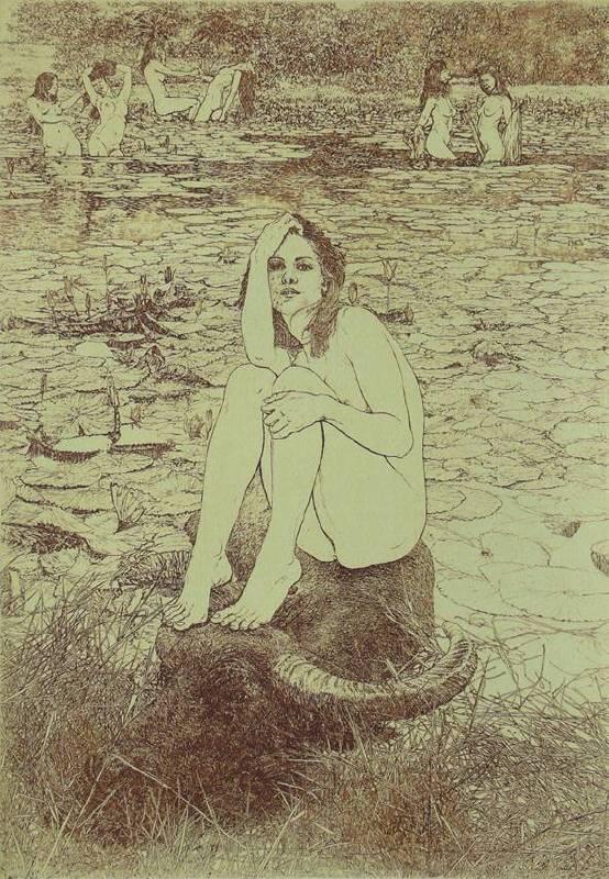 楊炯杕-牛郎織女-蝕刻版畫-30.2x21.2cm-20/60-2009