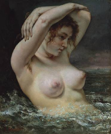 Gustave Courbet,《The Woman in the Waves》, 1868。圖/取自wikiart