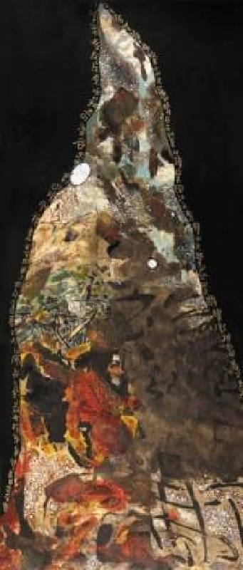 汪天亮  鐘鼎名山  160x70 cm  漆、複合媒材  2011