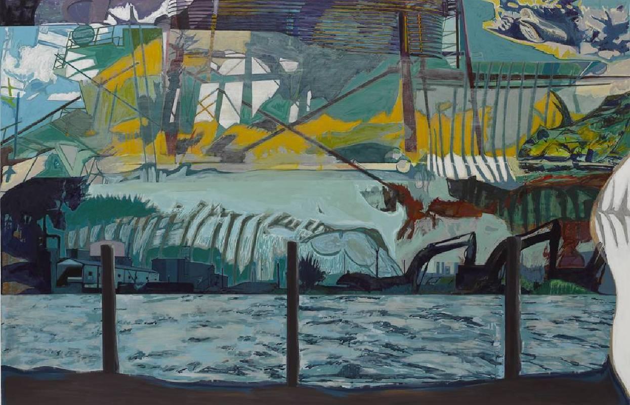 林儒鐸,如鏡的大海02:一切終將遠去,2011,複合媒材,130x194cm