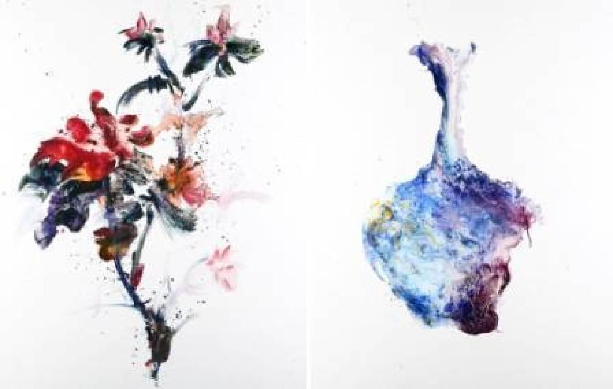 堉泉Yu Chuan, 花卉系列 No.7 Flowers Series No.7, 92x73cm x2, 油畫, 2015