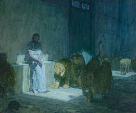 Henry Ossawa Tanner,《Daniel in the Lions` Den》,1896。圖/取自wikiart