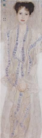 克林姆《格特魯•勒夫肖像》。圖/取自Wikipedia。