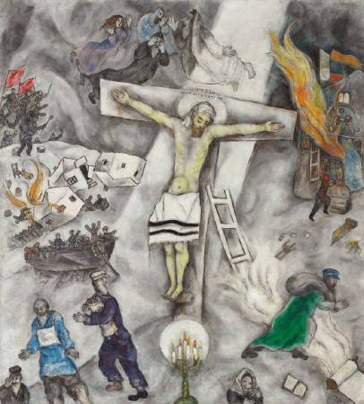 Marc Chagall,《White Crucifixion》,1938。圖/取自 wikiart。