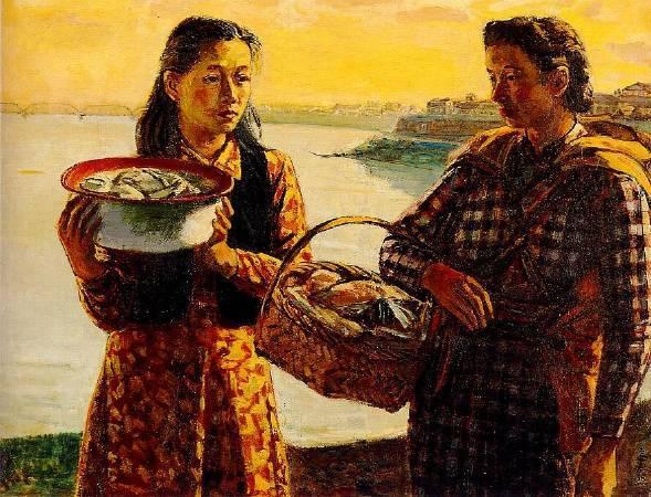 李石樵,《河邊洗衣》,1946。