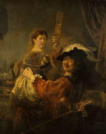 林布蘭,《和莎斯姬亞一起的自畫像》,1635。圖/取自Wikipedia。