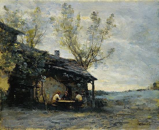 柯洛,《沃日拉爾的咖啡吧》,1871。