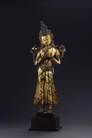 《14世紀 立像施輪轉印文殊菩薩》。
