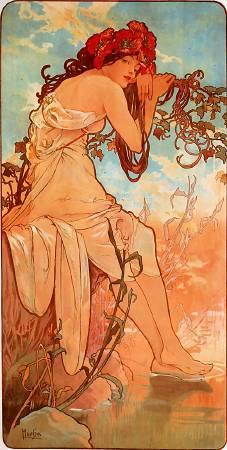 慕夏,《夏天》,1896。圖/取自Wikimedia。