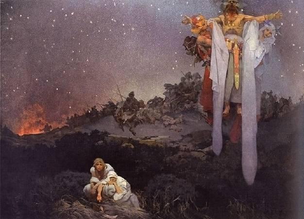 慕夏,《在發源地的斯拉夫人》,1912。圖/取自Wikimedia。