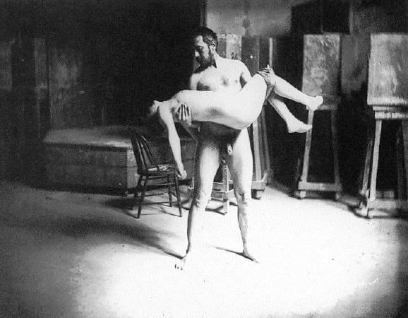 Thomas Eakins,《Thomas Eakins carrying a woman》,1885。