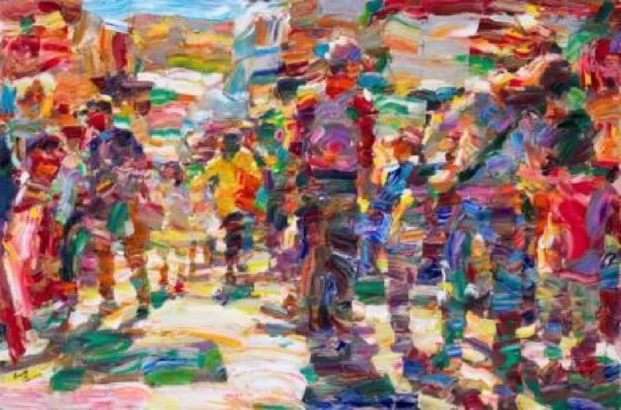 翁明哲 早晨的基隆 91×138 cm 油彩/畫布 2014