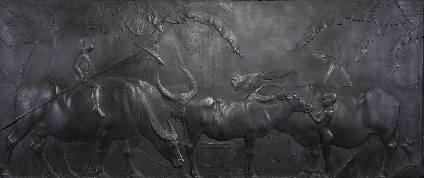 黃土水,《水牛群像》,1930。