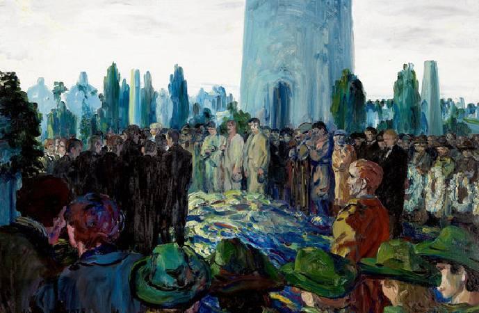 傑克‧葉慈,《蘭德的喪禮》,1922。圖/取自Ortioricellari