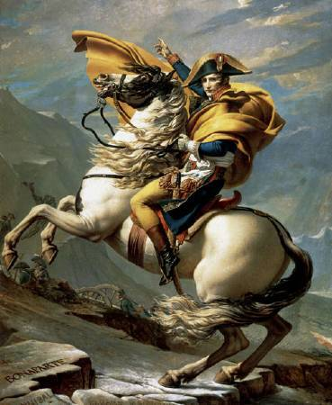Jacques-Louis David,《Napoleon Crossing the Alps》,1801-1804。圖/取自Wiki Art