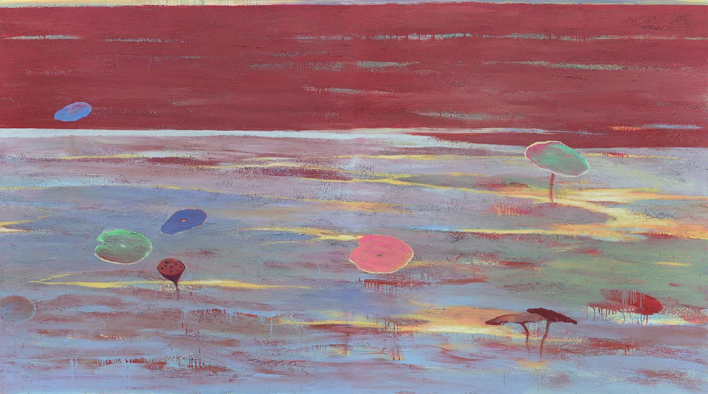 現代畫廊-楊登雄-Danse du lac rouge 紅湖舞 200x180cmx2 壓克力顏料 畫布 2008