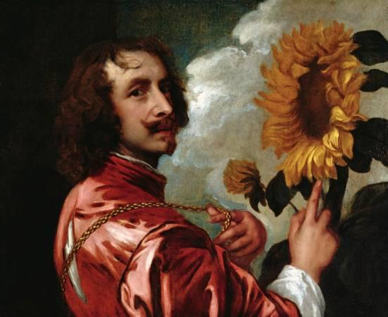 范戴克,《自畫像與向日葵》,1633。圖/取自Wikipedia。