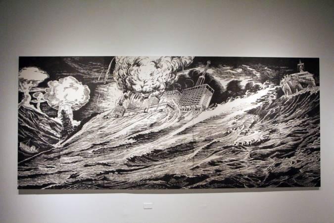 風間幸子《哎呀!遭狂浪圍困的軍艦》。圖/非池中藝術網攝。